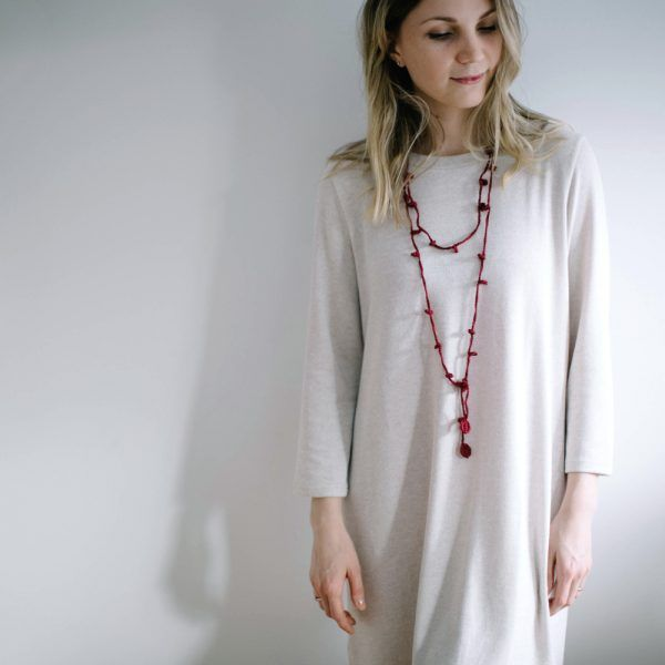 Burgundy long necklace