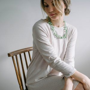 Light green long necklace