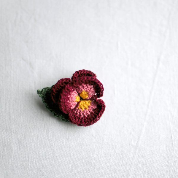 Bordeaux Pansy Brooch