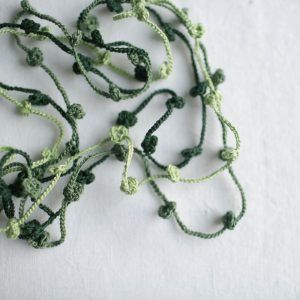 Set of 3 Floral necklaces. Green