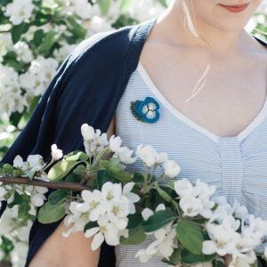 Blue Pansy Brooch