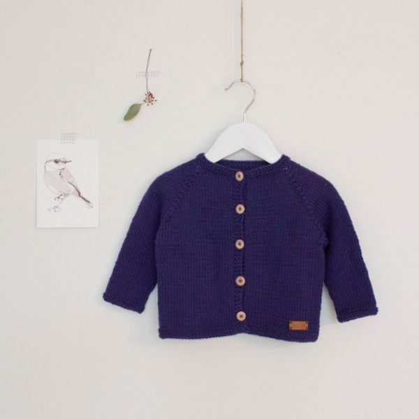 knit baby girl cardigan violet