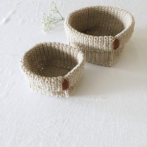 crochet storage baskets beige