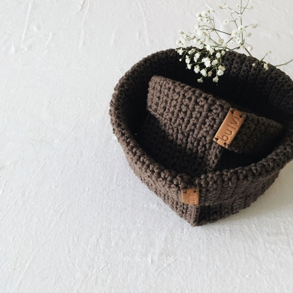 crochet storage baskets brown