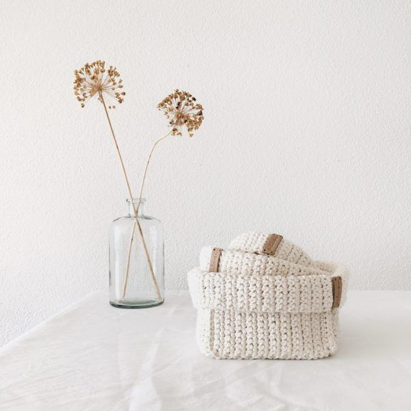 Crochet Storage Baskets Cream