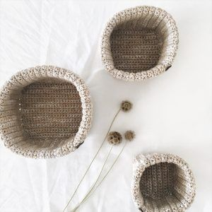 Crochet Storage Baskets Darker Beige
