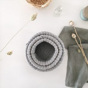Set of 3 Crochet Baskets Gray
