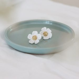 White Spirea flower stud earrings