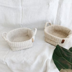 Crochet storage basket with handles Beige & Cream