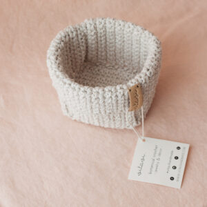 Small Handmade Crochet Basket – Cream