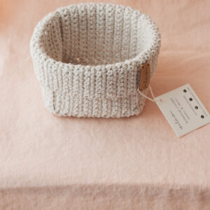 Medium Handmade Crochet Basket – Cream