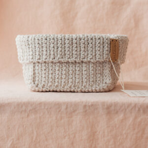 Large Handmade Crochet Basket – Cream