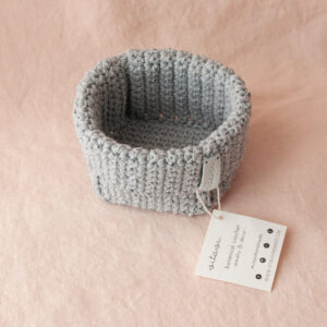Small Handmade Crochet Basket – Grey