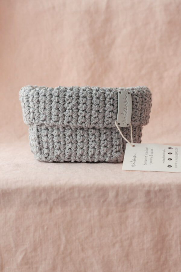 Medium Handmade Crochet Basket – Grey