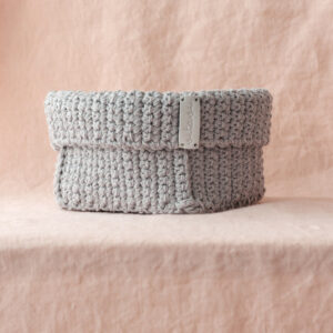 Big Handmade Crochet Basket – Grey