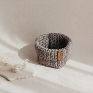 Small Handmade Crochet Basket – Brown