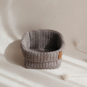 Medium Handmade Crochet Basket – Brown